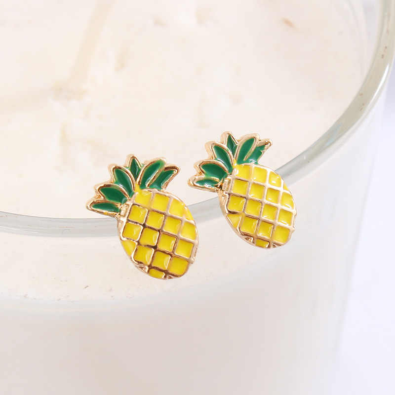 2018 New Arrivals Hottest Women's Fashion Earrings Brincos Oorbellen Bijoux Fruit Pineapple Stud Earrings For Women Jewelry