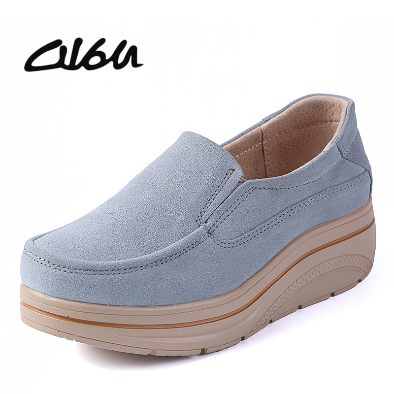 O16U Big Size Flats Shoes Women Suede Leather Slip on Moccains Round Toe Ladies thick sole casual shoes women Sneaker Creeper suede