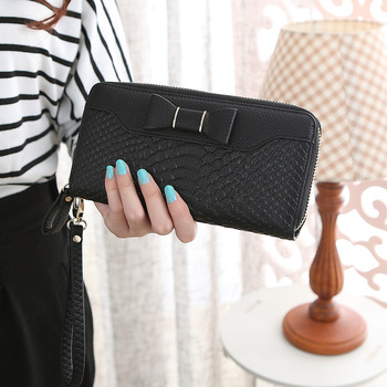 Bow-Decorated Cute Leather Women's Wristlet Bags and Wallets Hot Promotions New Arrivals Women's Wallets Color: Black