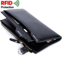2018 Leather Luxury Brand Men Wallets Fashion Long Men Purse Wallet Male Clutch Business Wallet Coin Purses RFID Card Holder