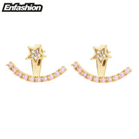 Enfashion כוכבים עגיל ורוד מעיל אוזן אבן Zirconia עגילים בצבע זהב Orecchini aretes תכשיטי עגילים לנשים