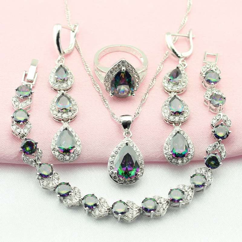 WPAITKYS Multicolor Cubic Zirconia Silver Color Jewelry Sets For Women Drop Earrings Bracelet Necklace Ring Free Gift Box chamsgend summer toddler kids baby girls clothes printing sleeveless dress small house vest princess tutu dresses june8 p30