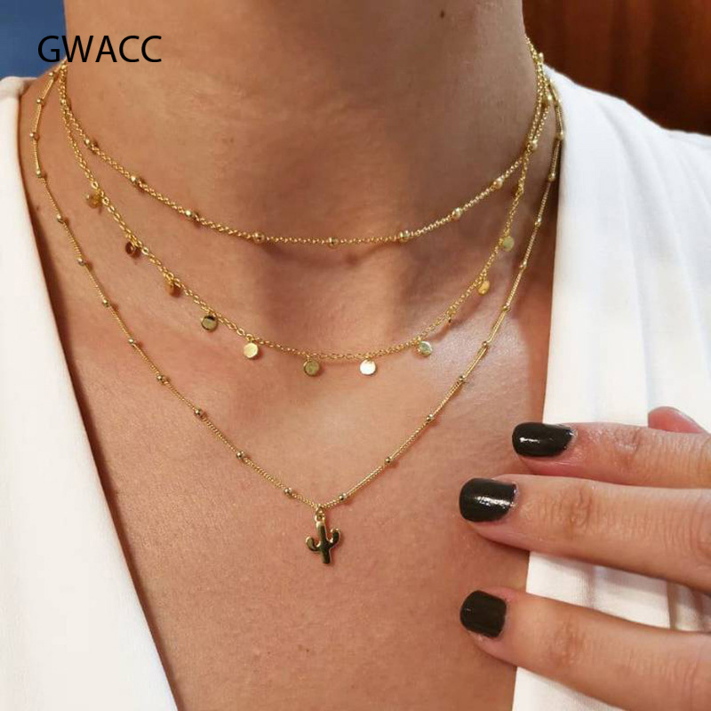 GWACC Multilayer Chain Cactus Coin Pendants Necklaces Gold Choker Necklace for Women Beach Statement Boho Jewelry Gifts