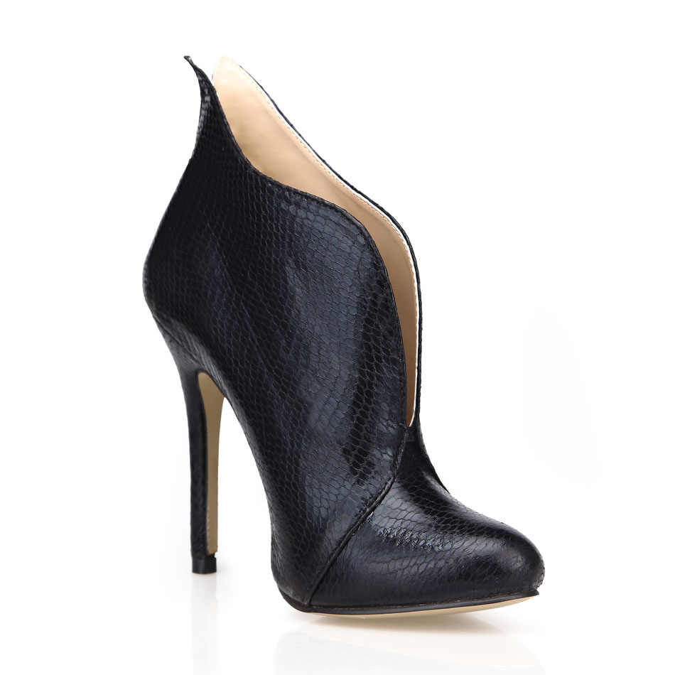 Chmile Chau Ular Hitam Seksi Pesta Sepatu Wanita Round Toe Stiletto Sepatu Hak Tinggi Sederhana Wanita Semata Kaki Zapatos Mujer 0640CBT-i3