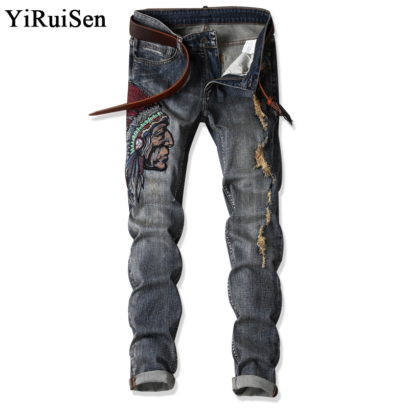 YiRuiSen Marca Patchwork And Embroidery Indian Men Slim Jeans Casual Pantalones Largos Denim Jeans para hombre ropa 29-38 Tamaño # 1701