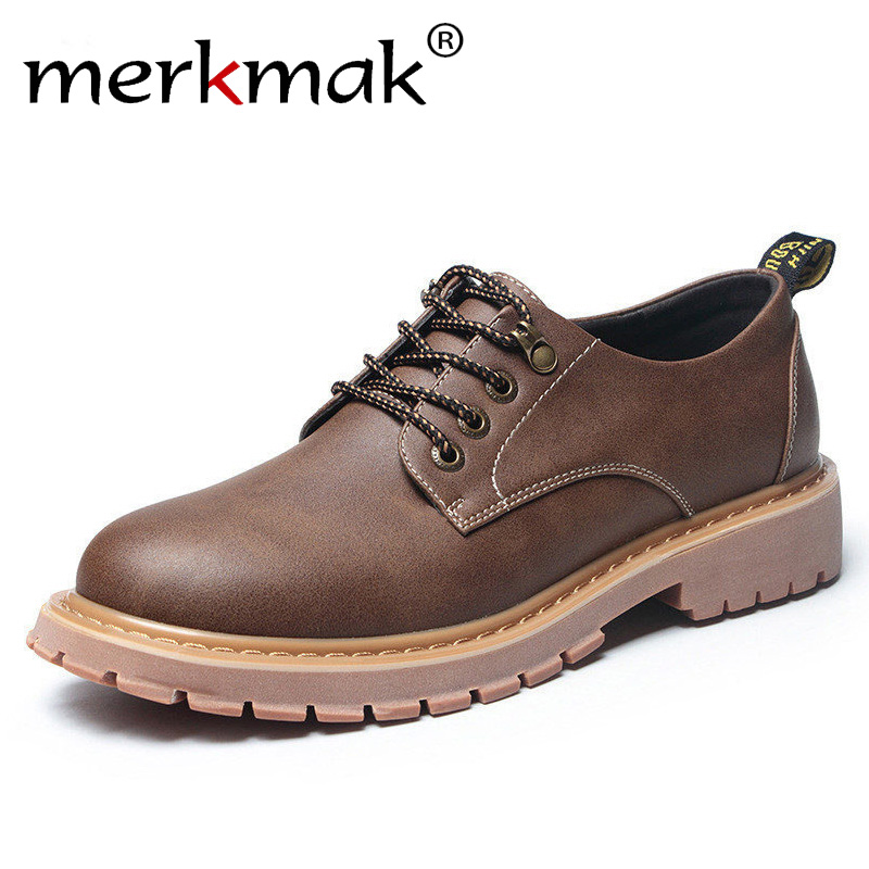 Merkmak New Fashion Italian Men Shoes Classic Men Leather Shoes Men Oxfords Designer Waterproof Short Outdoor Footwear