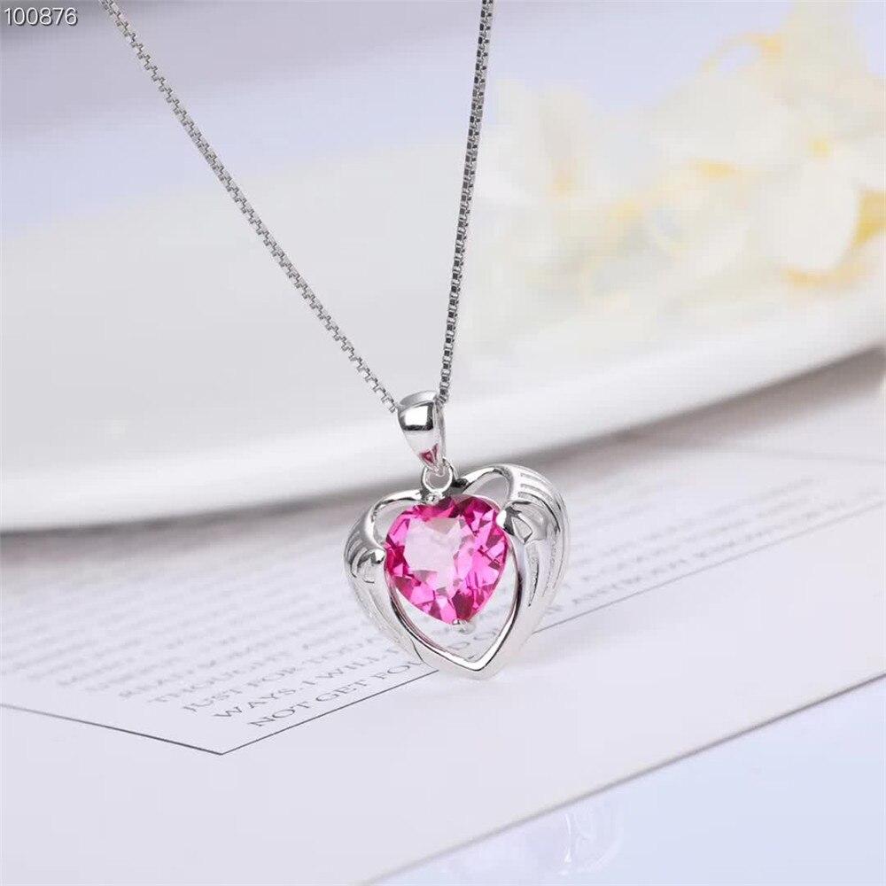 Gros luxe à la mode 925 en argent sterling rose topaze naturel pierres précieuses bijoux coeur pendentif collier pour les femmes cadeau d'anniversaire