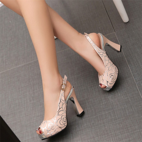 New women fashion pumps high heel office lady causal shoes for summer buckle strap black female square heel peep toe sandals Lahore