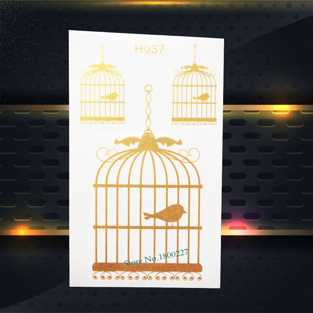 1PC Fashion Flash Temporary Tattoo Gold Cage Bird Design Waterproof Body Arm Art Metallic Tattoo Sticker Leg Tatoo Decals PGH037