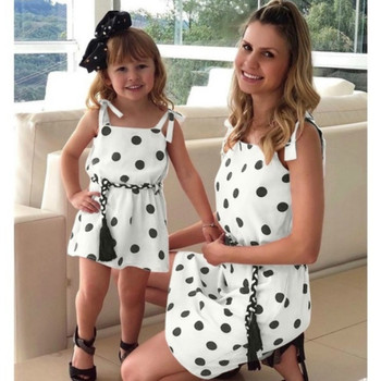 Mommy and Me Dresses Dots Print Mom and Daughter Dress Family Look Mom and Me Matching Clothes Matching Family Outfits for Party 1