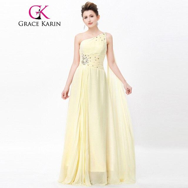Grace Karin One Shoulder Evening Dresses 2017 Chiffon Beaded Elegant ...