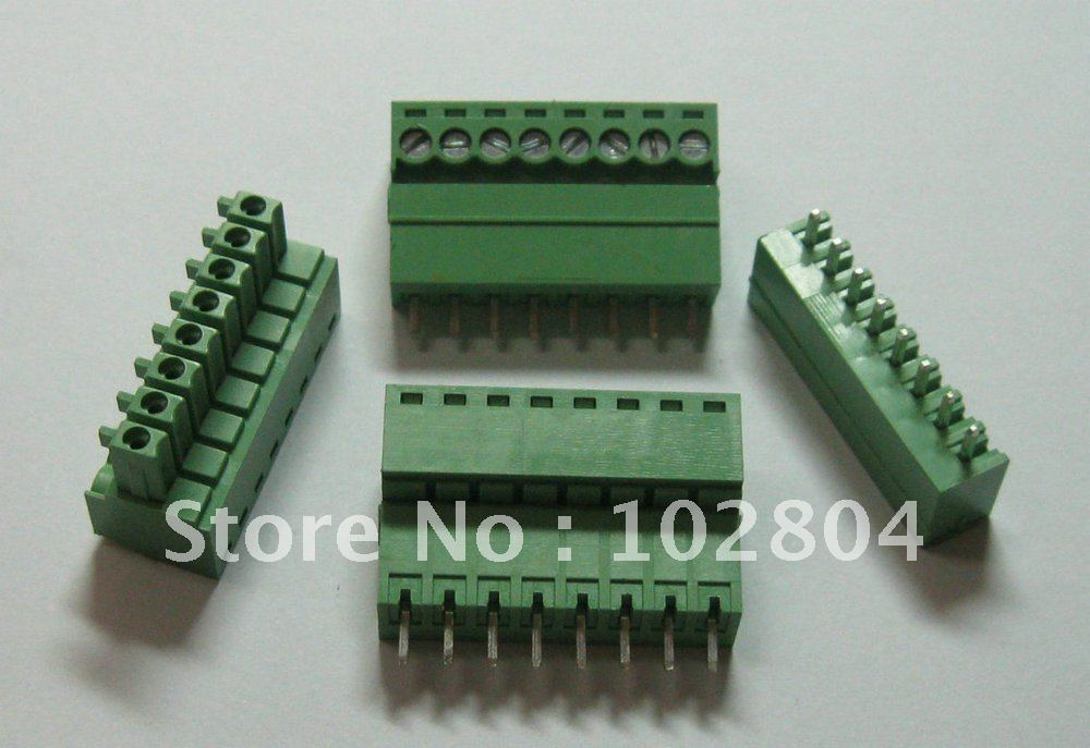 New 8 Pin//Way Pitch 3.81mm Screw Terminal Block Connector Green Pluggable Type
