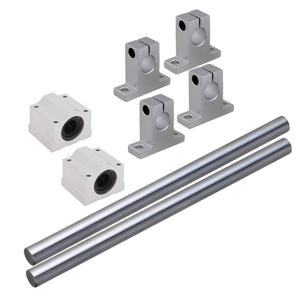 Silver 12MM Dia Cylinder Linear Shaft Optical Axis L200mm&CNC Ball Slide Units Linear Rail Support with Linear Bearing Set of 8 scv25uu slide linear bearings aluminum box type cylinder axis scv25 linear motion ball silide units cnc parts high quality