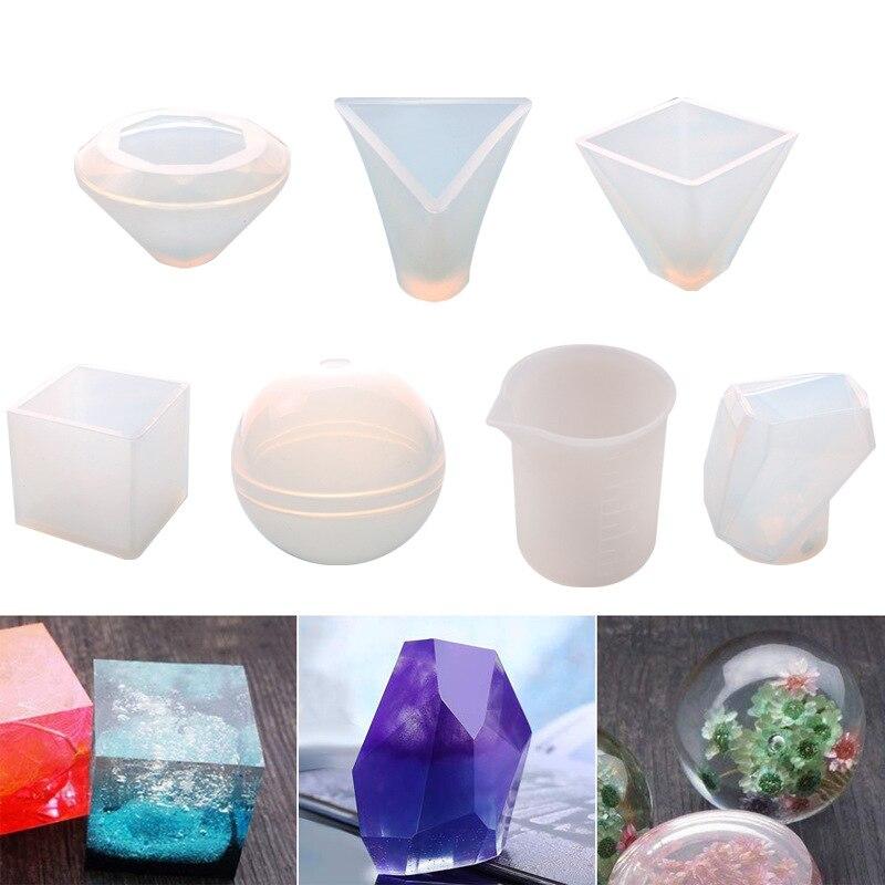 7 pièces 3D géométrique Silicone résine moule à mesurer tasse cône pyramide ronde carrée moules outils pour pendentif décoration fabrication de bijoux