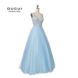 Image 3 - Sky Blau Weiß Appliques Blumen Prom Kleider 2019 Sexy V ausschnitt Elegante Frauen Kleid Hochzeit Abend Vestido De Novia OL103448