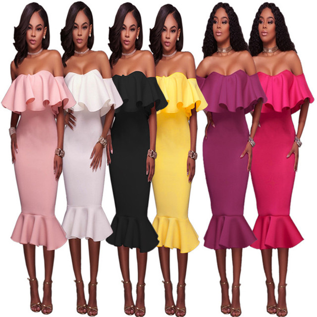 b657847e7dd Sexy Off Shoulder Ruffle Midi Dress 2019 New Women Sexy Slim Pencil Bodycon Mermaid  Party Dress White Black Pink Dress Vestidos