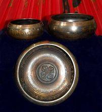 Buddha bowl practice Chakra Singing Meditation 20cm Diameter 8 inch gift art  bowls Antique Garden Decoration Silver Brass