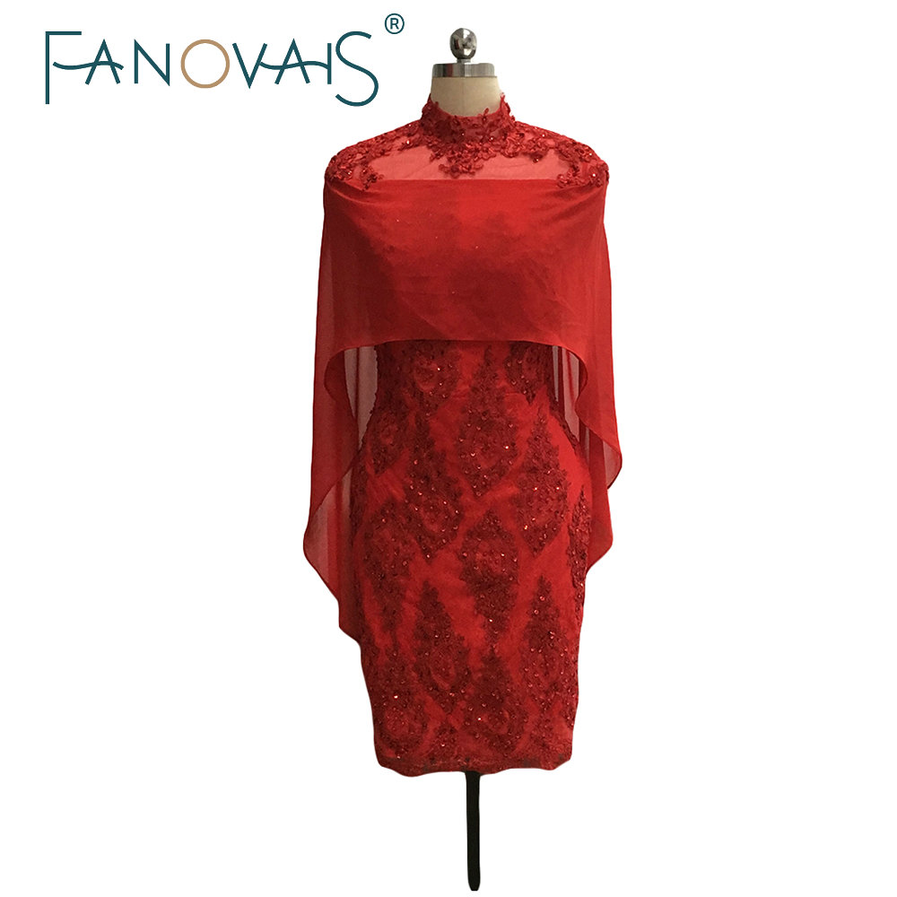 Real Pictures High Neck Red Mother of The Bride Lace Dress With Shawl Beads Short Chiffon Mother of the Groom Dress Evening Gown