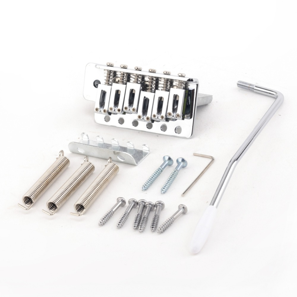 Musiclily Pro 52.5 mm Modern Tremolo Bridge Set for Stratocaster Strat ST Style Electric Guitar Parts, Chrome musiclily 4ply sss pickguard for fender standard stratocaster strat st guitar