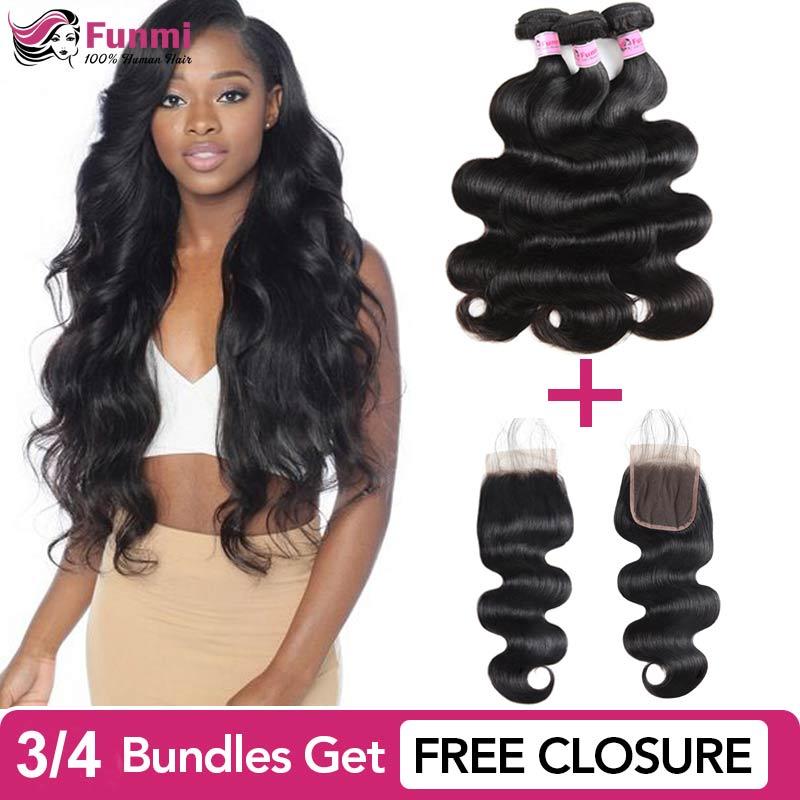 Buy Body Wave Bundles Get Free Closure Malaysian Hair Bundles Body Wave Virgin Human Hair Bundles 1/3/4 Funmi Hair Extensions