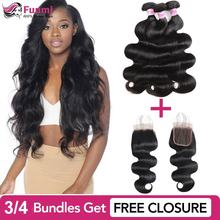 Buy Body Wave Bundles Get Free Closure Malaysian Hair Bundles Body Wave Virgin Human Hair Bundles 1/3/4 Funmi Hair Extensions 8a free shipping malaysian body wave 4 by 4 inch lace frontal closure with 2 bundles body wave hair weft black bouncy nlwhair