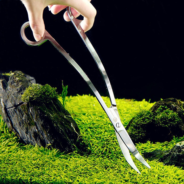 2017 Profession Aquarium Curve Wave Scissors For Live Plants Grass Maintenance Shear Tools Kit Mirror finished Stainless steel