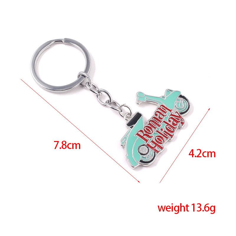 SG New Creative Roman Holiday Keychains Pendants Audrey Hepburn Princess Ann Joe Motorcycle Metal Car Keyring Men Fans Gifts in Key Chains from Jewelry Accessories