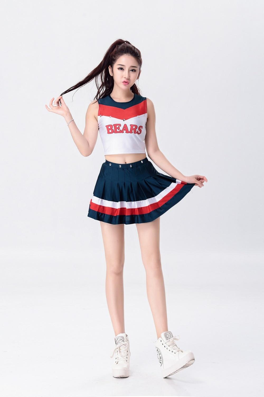 Offre spéciale! Cheerleaders vêtements groupes enfants école Cheerleaders filles aérobic Costumes compétition école uniforme robe jupe