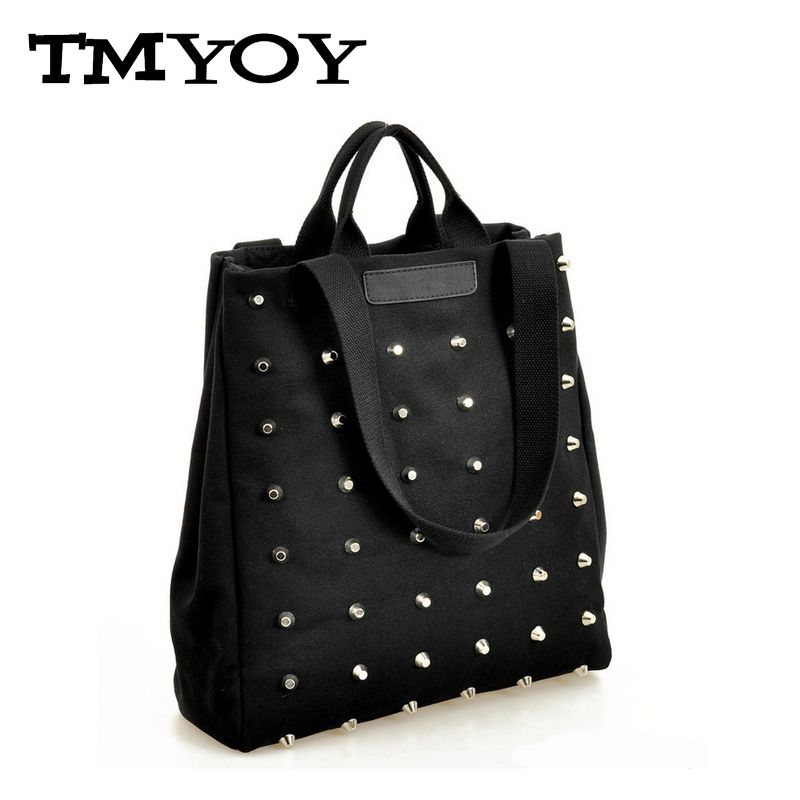 TMYOY 2017 New Fashion Women Rivet canvas handbags shoulder bags Tote casual bag JB009