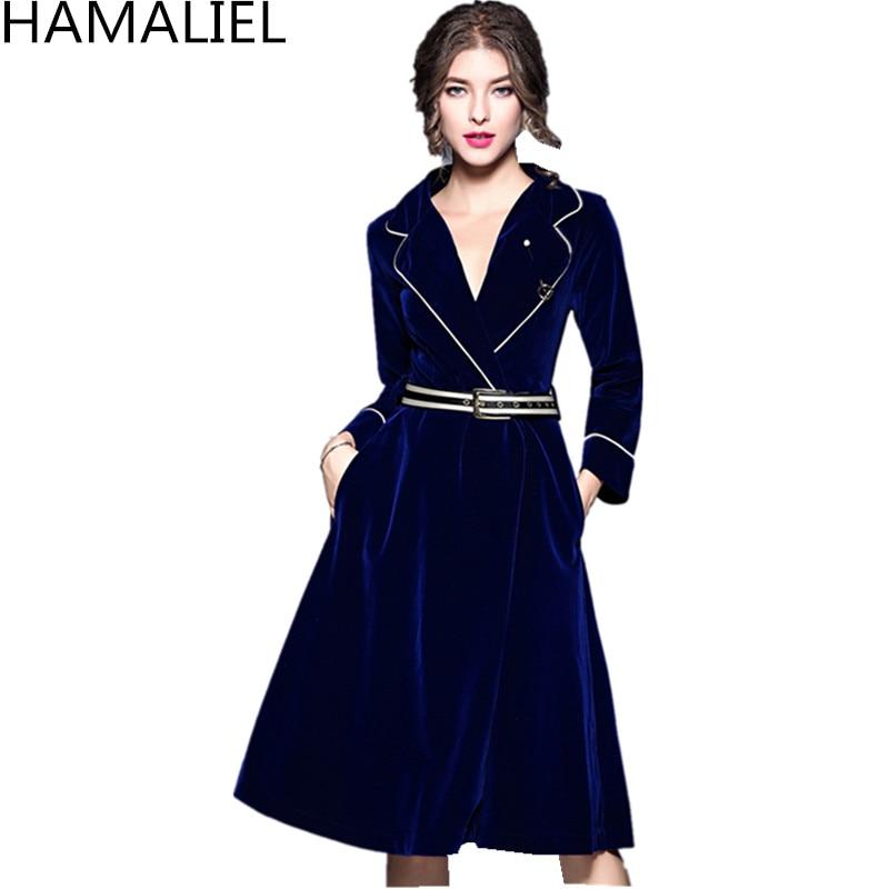 HAMALIEL automne hiver femmes velours robe de soirée robe de soirée de haute qualité bleu col cranté à manches décontracté avec ceinture robe