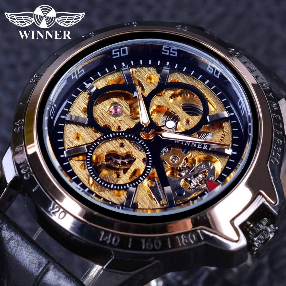 Winner Fashion Luxury Skeleton Military Design Black Golden Case Mens Watches Top Brand Luxury Male Wrist Watch Automatic Watch mens mechanical watches top brand luxury watch fashion design black golden watches leather strap skeleton watch with gift box