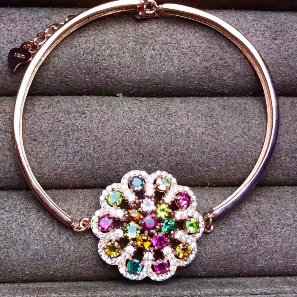 natural Multicolor tourmaline grace Round flower chain Bracelet Natural gemstone bracelet S925 silver women party fine jewelrynatural Multicolor tourmaline grace Round flower chain Bracelet Natural gemstone bracelet S925 silver women party fine jewelry