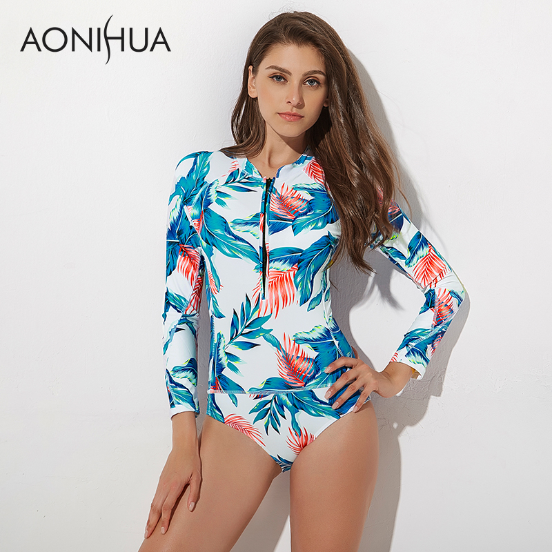 AONIHUA One Piece Swimsuits for Women 2018 Vintage Swimwear Front Zipper Female Surfing Diving Bather Long Sleeves Swimming Suit-in Body Suits from Sports & Entertainment on AliExpress - 11.11_Double 11_Singles' Day 1