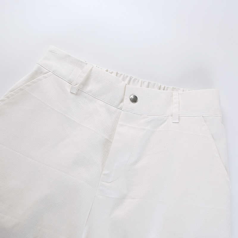 Weekeep/белые женские брюки с высокой талией; повседневные хлопковые брюки-карандаш; женские модные брюки с боковыми карманами; Pantalon Femme