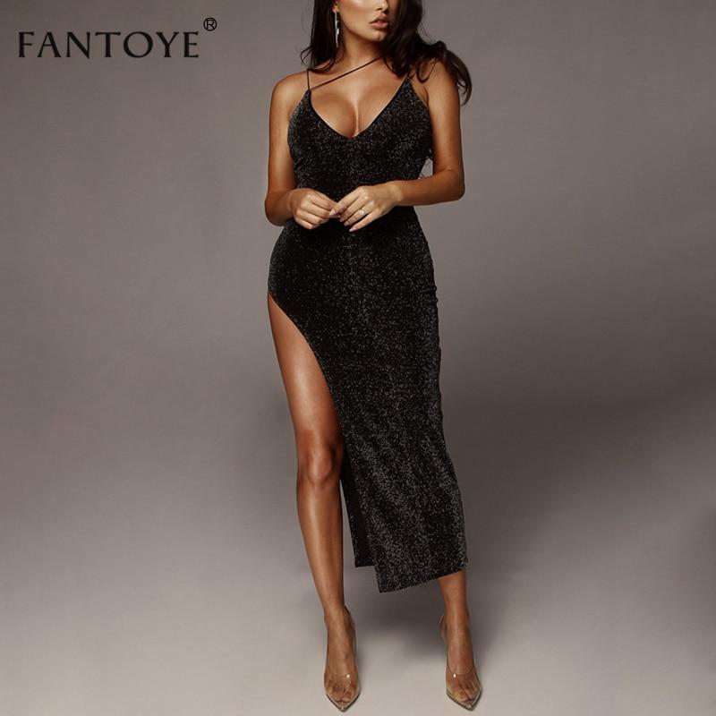 Fantoye Sexy Club Spaghetti Long Dress Women High Split Deep V Neck Bling Autumn Winter Maxi Party Bodycon Dresses Vestidos