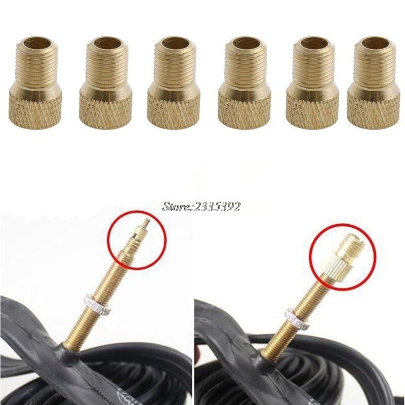 6 X Brass Bicycle Bike Presta to Schrader Adapter Valve Converter Pump Connector