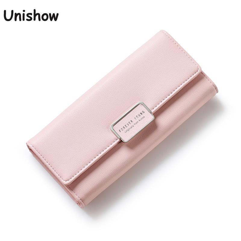 Unishow rahakoti naised 2019 uus mood naissoost rahakott brändi disainer pikk nahk rahakott daamid telefoni tasku tüdruk kaardi omanikud