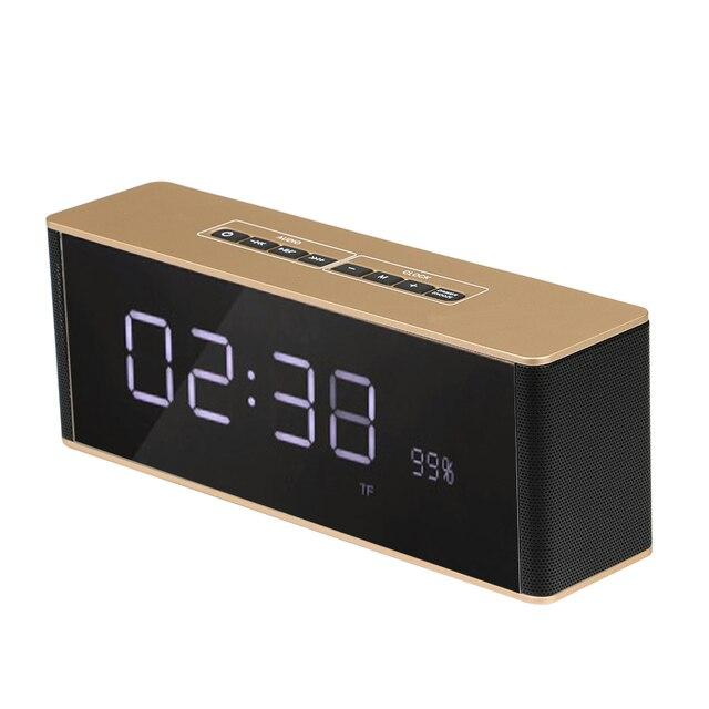 Portable Bluetooth Mirror Speaker Tf Card Time Alarm Clock Fm Radio