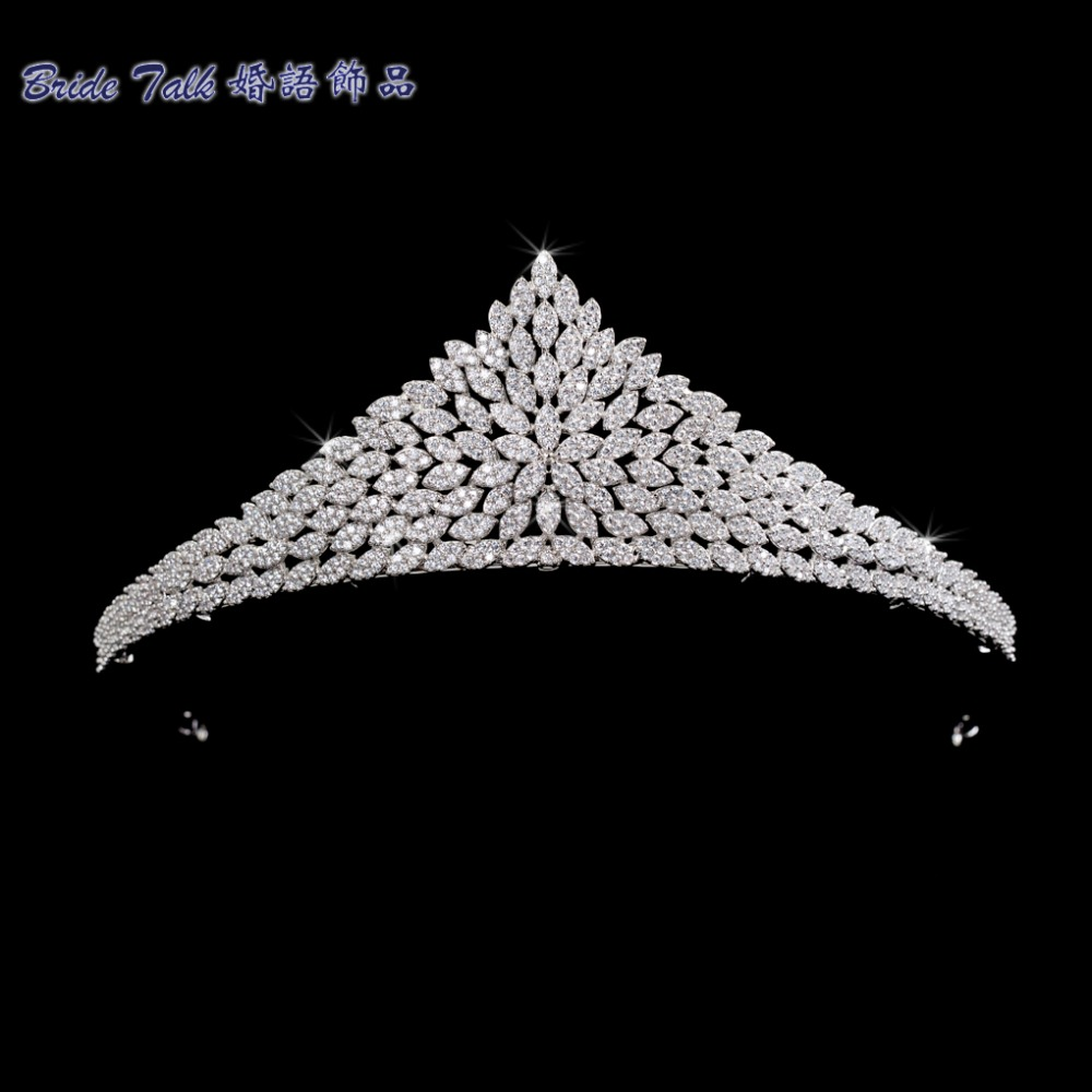 Classic Full 5A CZ Cubic Zirconia Wedding Bride Tiara Crown Girl Hair Jewelry Accessories Rhinestone Crystals Tiaras S16237 00009 red gold bride wedding hair tiaras ancient chinese empress hair piece