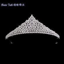 Classic Full 5A CZ Cubic Zirconia Wedding Bride Tiara Crown Girl Hair Jewelry Accessories Rhinestone Crystals Tiaras S16237