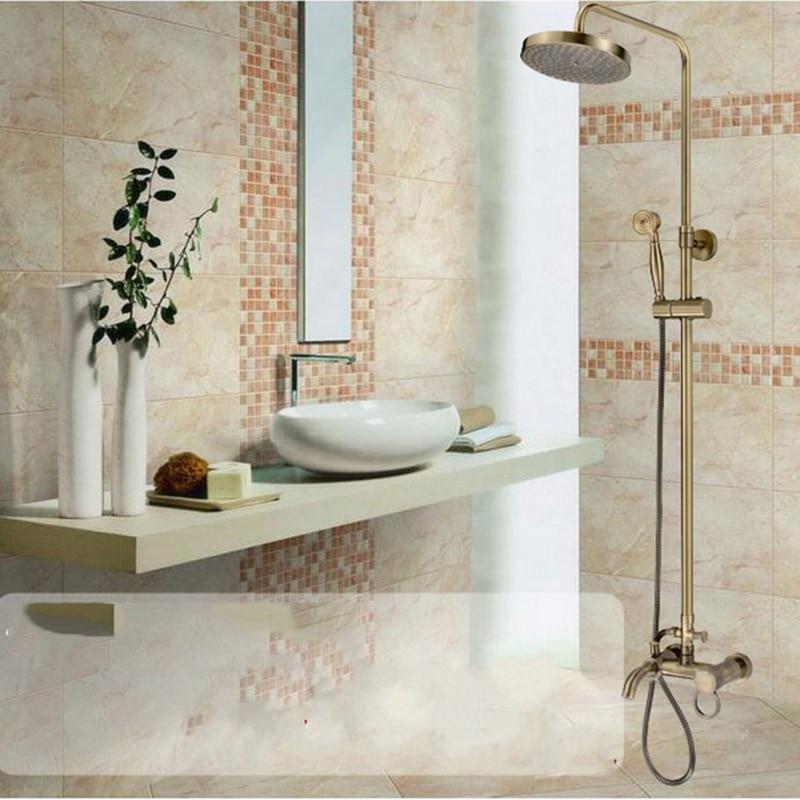 Luxury Modern Rain Shower Set Faucet Bronze Material Chrome Mixer Tap Wall Mounted poiqihy chrome rain