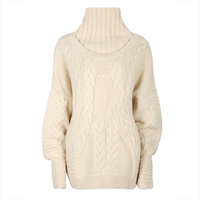 Young17 Autumn Sweater Women 2017 Beige Woolen Long Sleeve Casual Loose Turtleneck Fall Sweater Women Winter