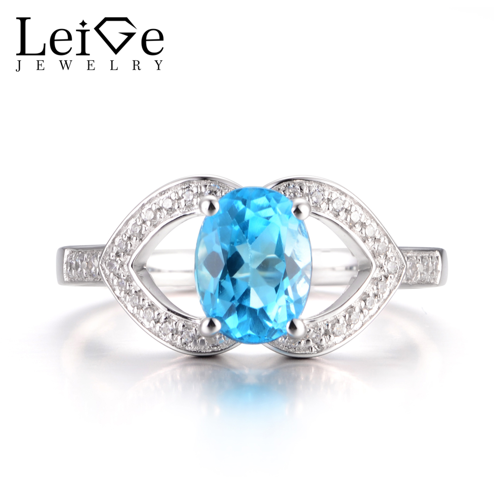 LeiGe Jewelry Genuine Swiss Blue Topaz Rings Cocktail Rings November Birthstone Rings Oval Cut Blue Gems 925 Sterling Silver термокружка gems 470ml blue topaz 1907 77