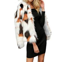 autumn winter women Mixed color artificial imitation fox fur plush  jacket hairy overcoat Fluffy faux coat