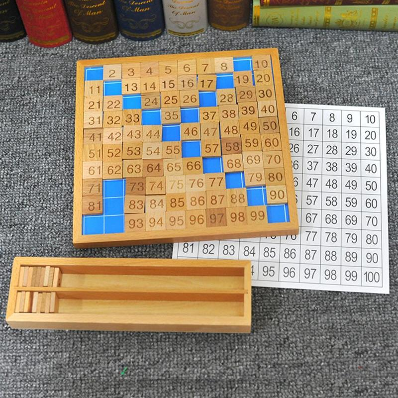 Montessori Número La Educativos Madera Juguetes 100 Matemáticas 1 Mesa De lu1JKF3c5T