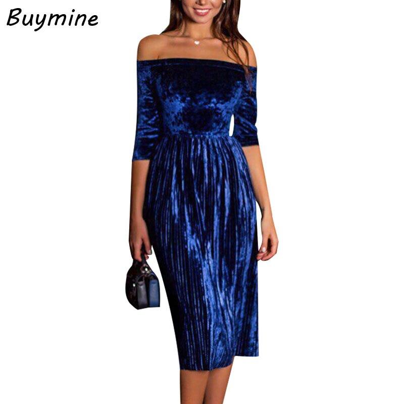 Changeable Color Velvet Party Dress Lady Of Quality Slash Neck High Waist Pleated Dresses Women Royal Blue Velvet Dress Winter