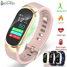 BANGWEI Sport Smart Bracelet Women IP67 Waterproof Watch Heart Rate Monitor Pedometer Caller Information Remind Fitness Watch