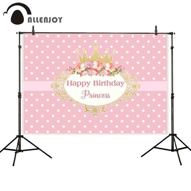 Allenjoy fotografie achtergronden kroon prinses roze birthday party flower frame achtergrond nieuwe photocall photobooth