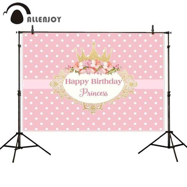 Allenjoy 写真撮影の背景クラウンプリンセスピンクの誕生日パーティーの花フレーム背景新 photocall photobooth