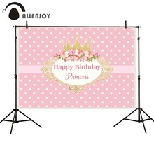 Allenjoy photography backdrops crown princess pink birthday party flower frame background new photocall photobooth